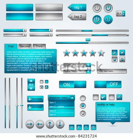 Set of vector ui azure/grey web elements - stock vector