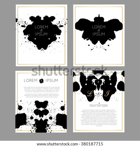 Set of vector universal cards Rorschach test inkblob theme. Wedding, anniversary, birthday, party. Design for poster, card, invitation, brochure, flyer. Creative hand drawn textures. - stock vector