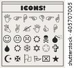 set of vector Universal Outline Icons For Web and Mobile. Smiles, hands, religion, skull, bomb - stock vector