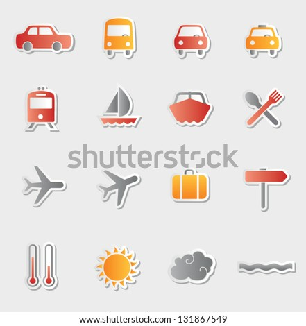 Set of vector vacation and travel icons. Sticker button set. Multicolored icons for travel and entertainment. Vector illustration. - stock vector