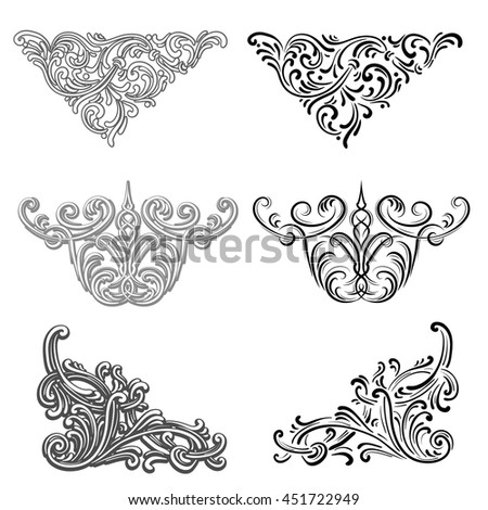 set of vector victorian vignettes and corners, for registration of invitations, greetings, etching, etc. - stock vector