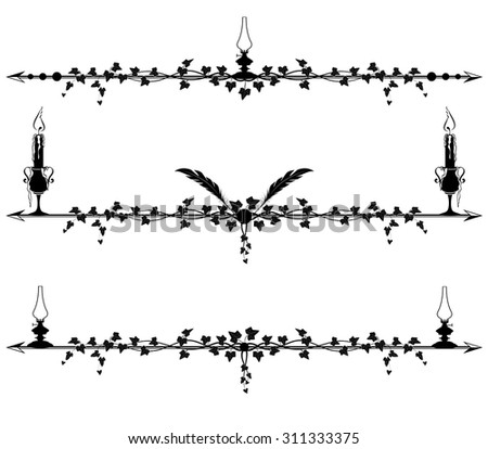 set of vector vignette with ivy, lamps and candles - stock vector