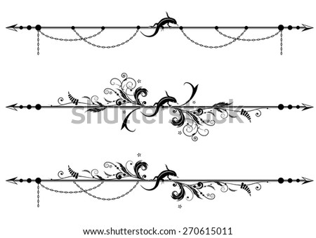set of vector vignette with lizard, floral and chain - stock vector