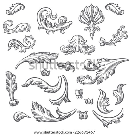 Set Vector Vintage Baroque Engraving Floral Stock Vector