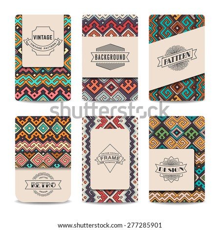 Set of vector vintage cards. Best for invitation, bage, wedding, save the date, shower. - stock vector