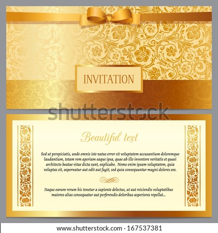 Set of vector vintage luxury horizontal invitation with a beautiful baroque pattern and border. Beige and gold. - stock vector