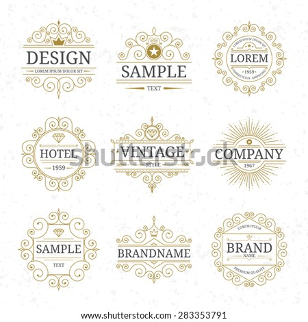 Set of vector vintage luxury logo templates with flourishes elegant calligraphic ornamental design elements - stock vector