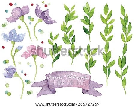 Set of vector watercolor botanical elements. Watercolor floral set. Blue and pink flowers, violet ribbon, green leaves and colorful dots. Great for wedding cards, invitations and greeting cards. - stock vector