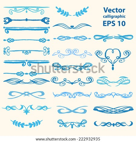 Set of vector watercolor calligraphic frames for your design - stock vector