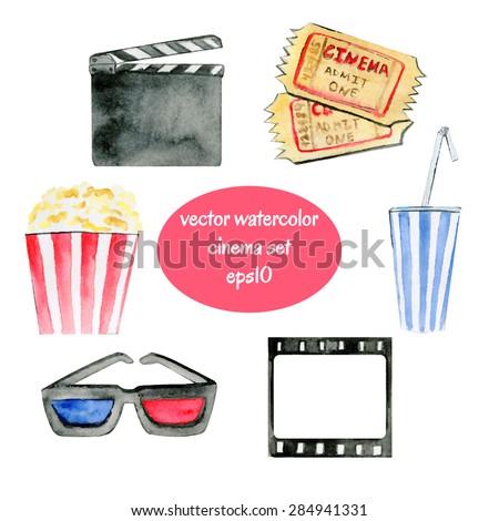 Set of vector watercolor sketchy cinema attributes. - stock vector