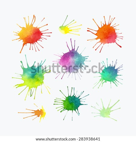 Set of vector watercolor splashes, colorful isolated blobs.  - stock vector