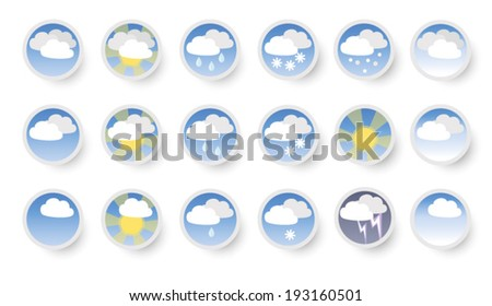 Set of vector weather icons. - stock vector