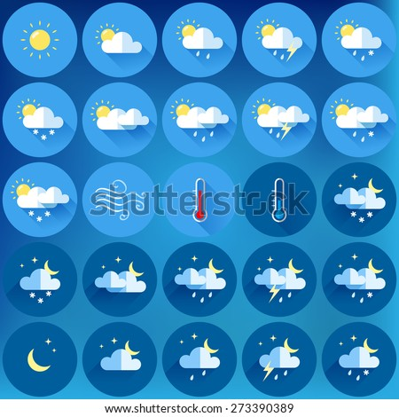 set of 25 vector weather icons. flat design - stock vector