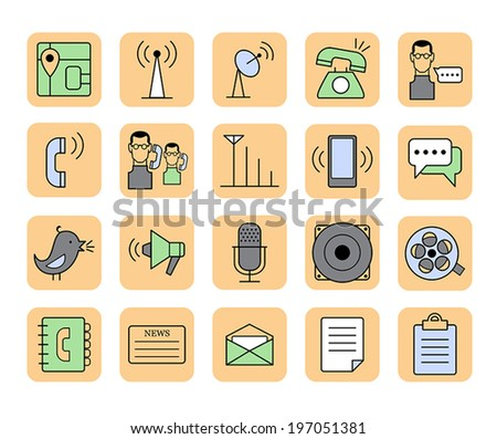 Set of vector web communication and media icons - stock vector