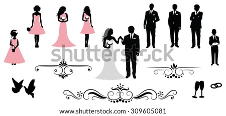 Set of vector wedding silhouettes. - stock vector