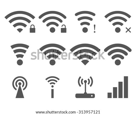 Set of vector Wi-Fi and Wireless icons for remote access and communication via radio waves. WiFi zone sign isolated on white background. - stock vector