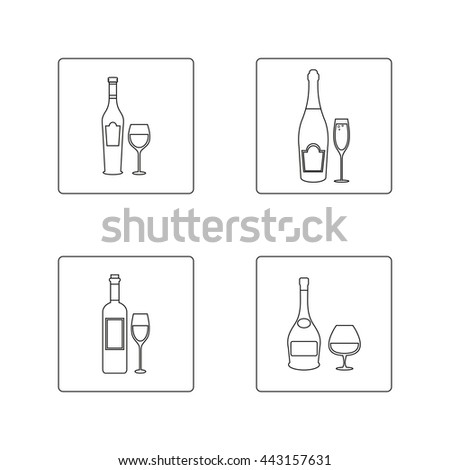Set of vector wine bottles and glasses, thin line, flat. Wine, red wine, white wine, champagne, brandy, glasses. - stock vector