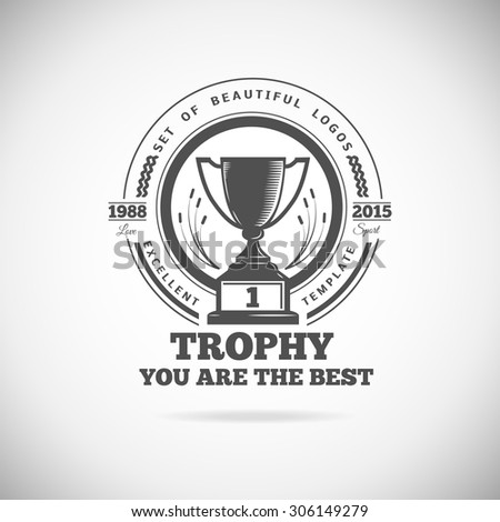 Set of vector winner logos, badges, emblems and design elements. Black icons Victory trophies and awards - stock vector
