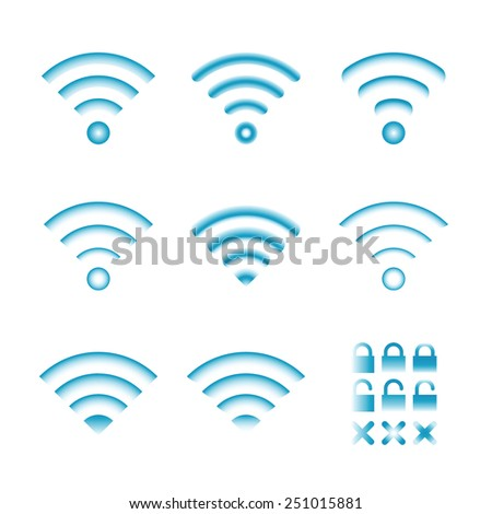 Set of vector wireless icons for wifi remote control access and radio communication - stock vector