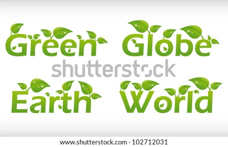 Set of vector words with leafs - green, globe, earth, world