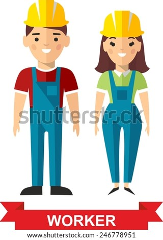 Set of vector  worker man and  worker woman. Vector illustration of a vector worker man and  worker woman. - stock vector