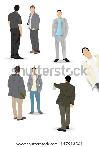 Set of vector working and communicating men in suits - stock vector