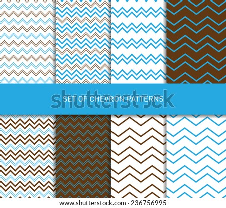 Set of vector zigzag chevron pattern backgrounds - stock vector