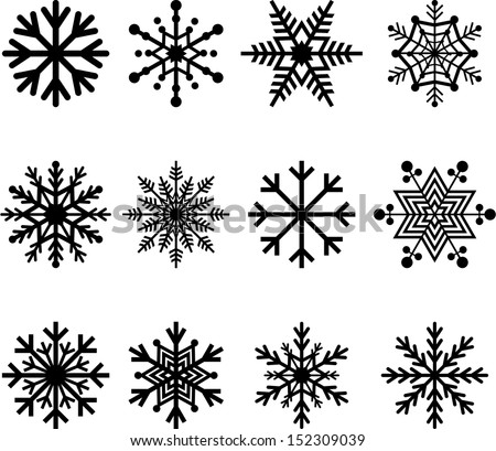 Set of vectorized abstract Snowflakes - stock vector