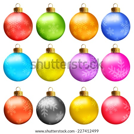 Set of vectors - Christmas balls in vivid colors with snowflakes model. - stock vector