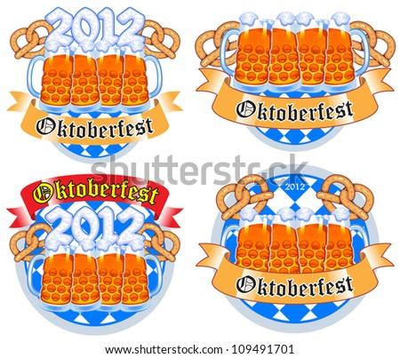 set of vectors on Oktoberfest beer festival - stock vector