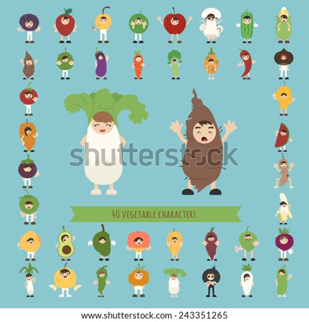 Set of 40 vegetable costume characters , eps10 vector format - stock vector