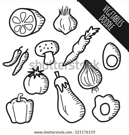 set of vegetable doodle - stock vector