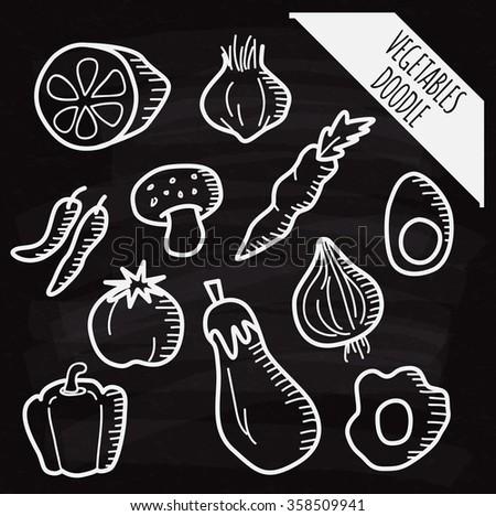 Set of vegetable doodle on chalk board - stock vector
