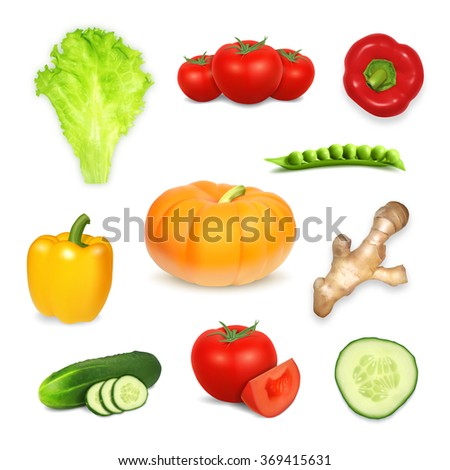 Set of vegetables. Vector icons. EPS10