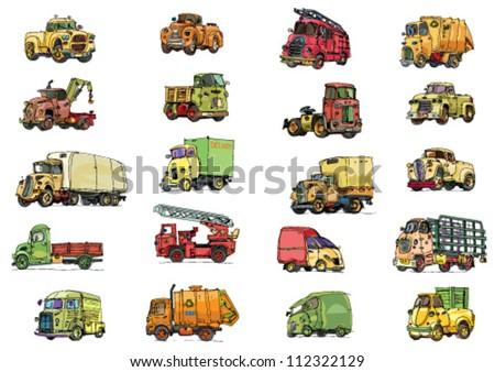 set of vehicle - cartoon - stock vector