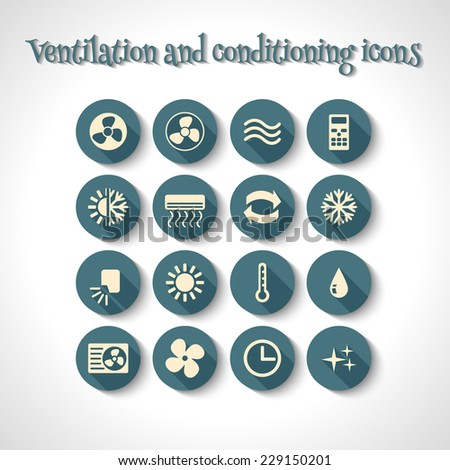 set of ventilation and conditioning system flat icons with long shadow - stock vector