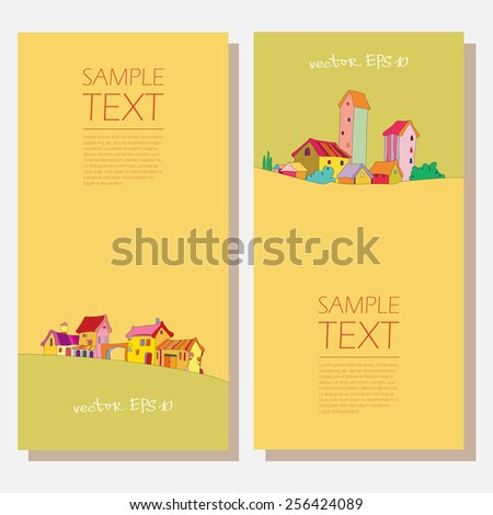 set of vertical banners with architectural buildings. Templates of forms to advertise real estate. protection of the environment. several vector rural landscape. - stock vector