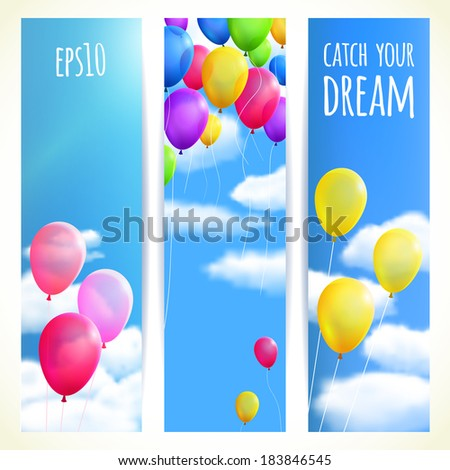 Set of Vertical Banners with Colorful Balloons. Vector illustration, eps10, editable. - stock vector