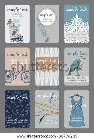 Set of vertical business cards - stock vector