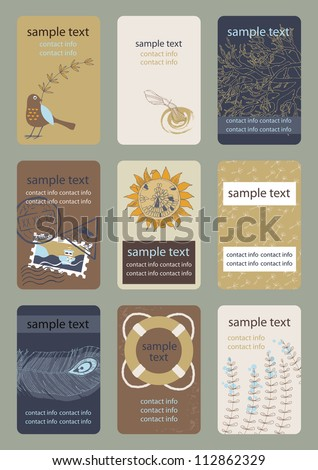Set of vertical colourful business cards - stock vector