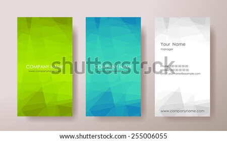 Set of vertical mosaic abstract business cards with text on grey background. Vector illustration. - stock vector