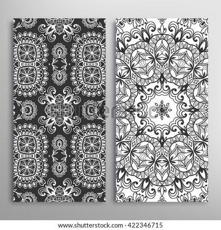 Set of vertical seamless doodle geometric patterns. Vector black and white stylish floral repeating texture, line pattern. Contemporary graphic design. Tribal ethnic ornament, monochrome background - stock vector