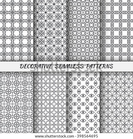 Set of 8 vertical seamless line patterns. Vector black and white stylish geometric repeating texture. Contemporary graphic design. Tribal ethnic ornament, monochrome background