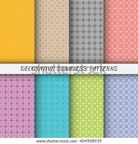 Set of vertical seamless linear patterns with thin lines. Vector monochrome stylish geometric texture, line art. Contemporary graphic design. Tribal ethnic ornament, arabic style background