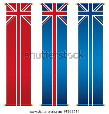 set of vertical union jack banners isolated on white - stock vector