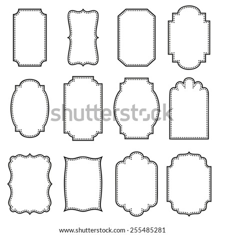 Set of vertical vintage frames. - stock vector