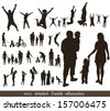 Set  of very detailed family silhouettes. Jumping and walking.   - stock