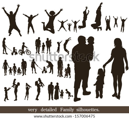 Set  of very detailed family silhouettes. Jumping and walking.   - stock vector