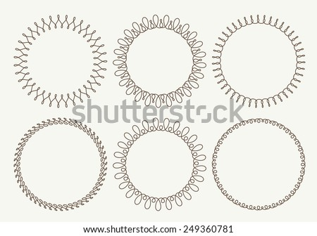 Set of 6 very simple round frames with fully editable stroke width - stock vector