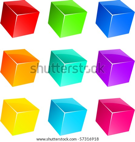 Set of vibrant glossy 3D cubes. - stock vector